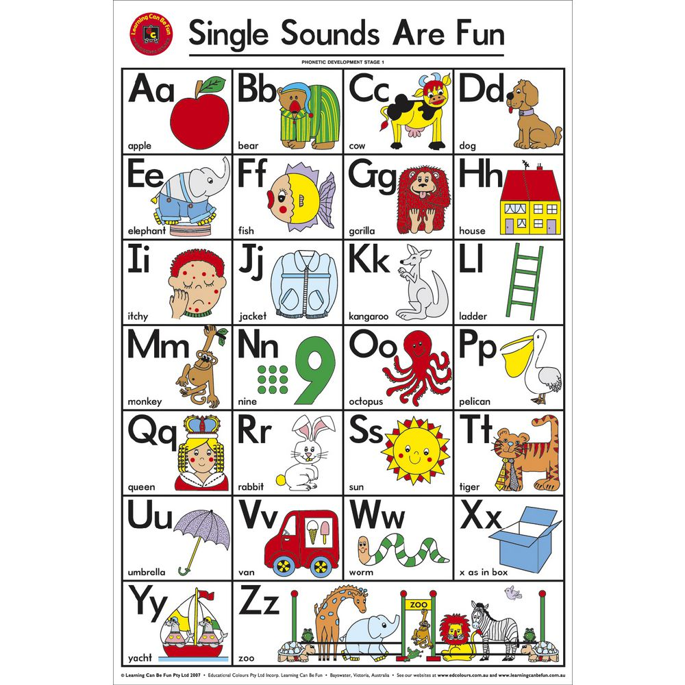 Worksheet Abcd Chart single sounds are fun chart seelect educational supplies adelaide chart